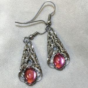 Vintage Silver filigree & pink cabochon earrings